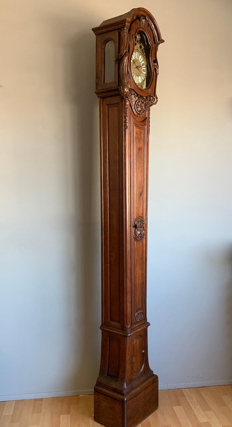 French Provincial 18th Century Elegant French Louis XIV Hand Carved Tall Case Clock with Rooster For Sale