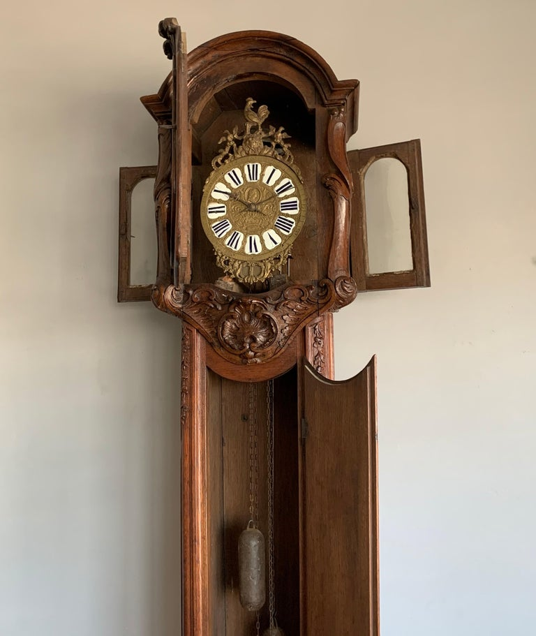 18th Century Elegant French Louis XIV Hand Carved Tall Case Clock with Rooster For Sale 2