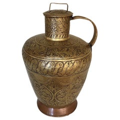 18th Century Embossed Brass and Copper Pitcher