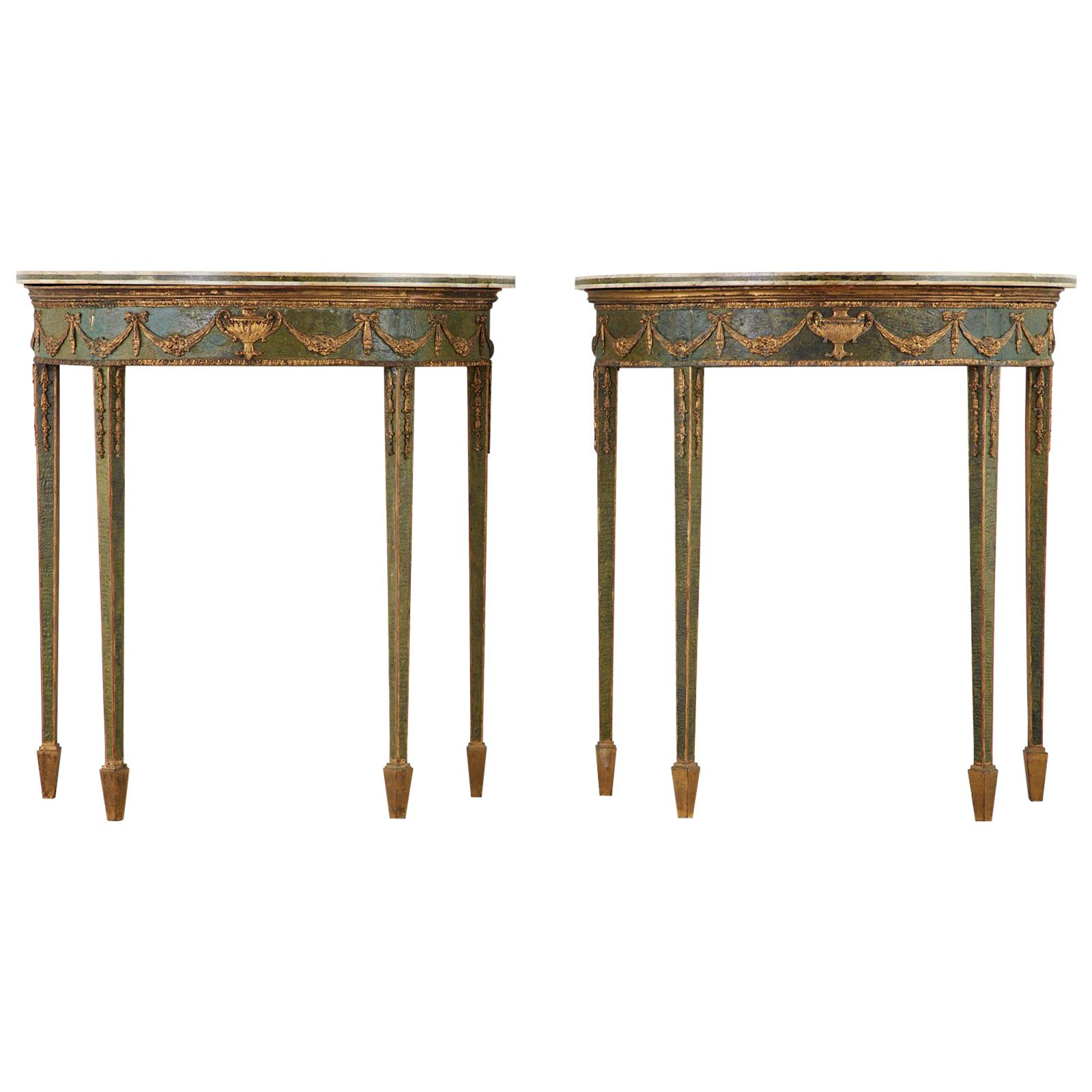 18th Century English Adams Demilune Consoles with Scagliola Marble Tops