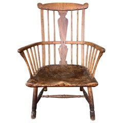 18th Century English Ash, Elm and Walnut Comb-Back Windsor Armchair