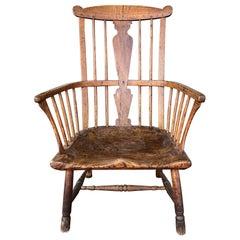 18th Century English Ash, Elm and Walnut Comb-Back Windsor Armchair