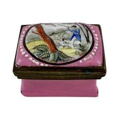 18th Century English Bilston Enamel Snuff Box, Hunter and His Spotted Bird Dog