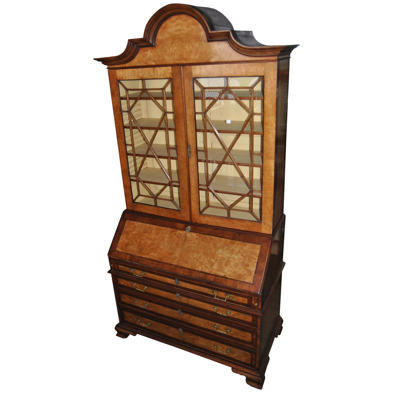 18th Century English Bird's-Eye Maple and Mahogany Bookcase Secretary