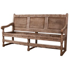 18th Century English Bleached Oak Bench