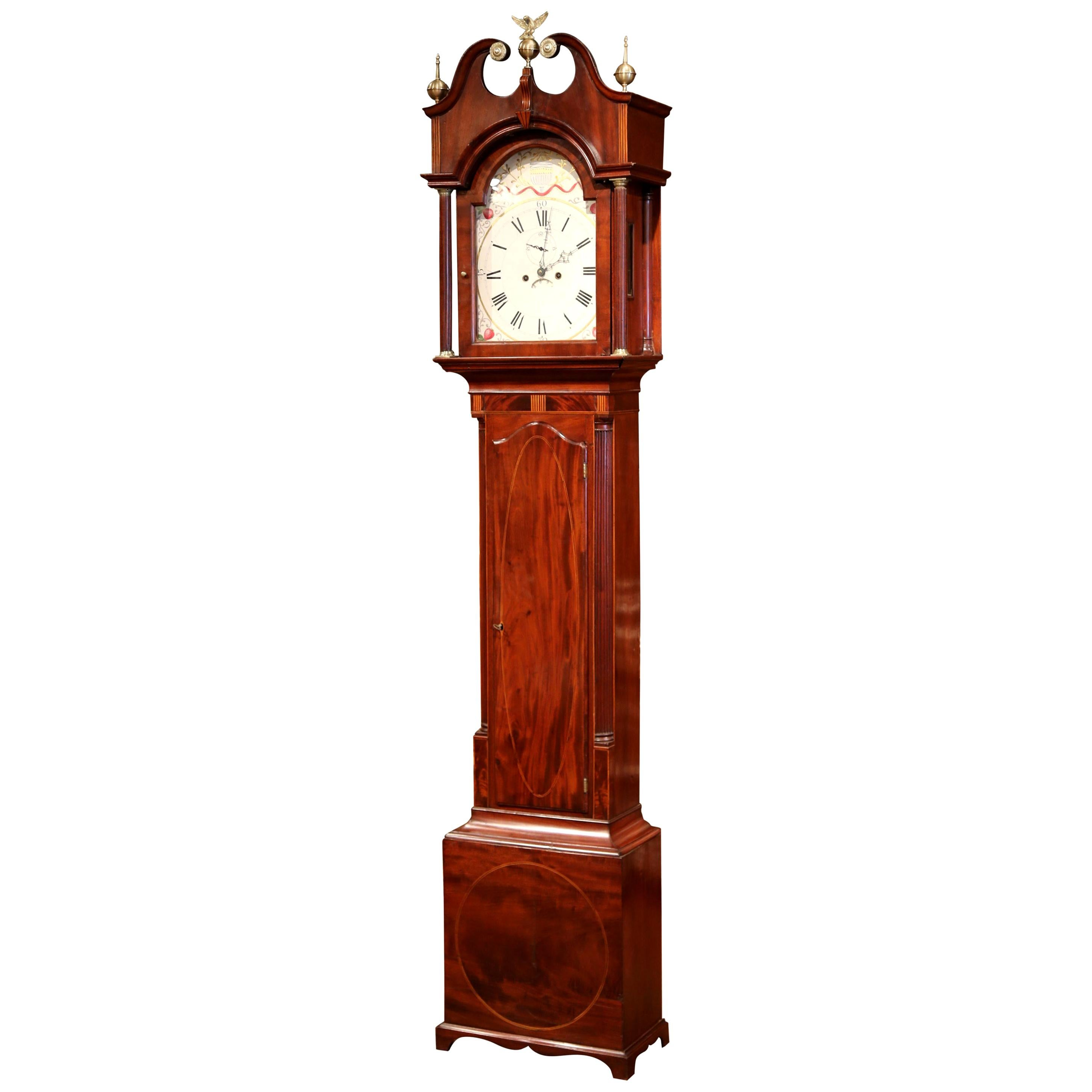18th Century English Carved Mahogany Tall Case Clock with Brass Mounts