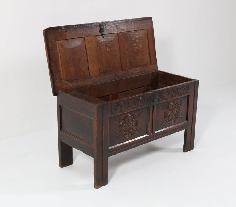 18th Century English Carved Oak Blanket Chest or Coffer For Sale 4