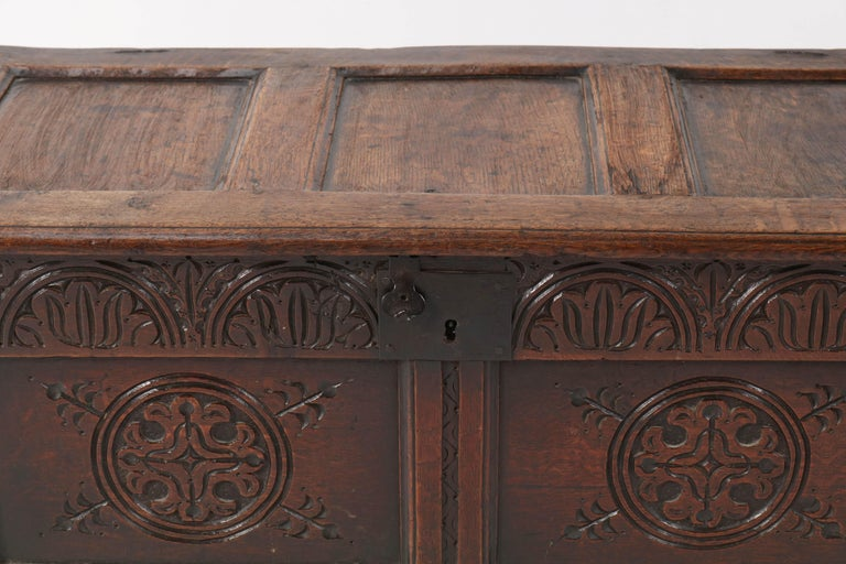 18th Century English Carved Oak Blanket Chest or Coffer For Sale 5