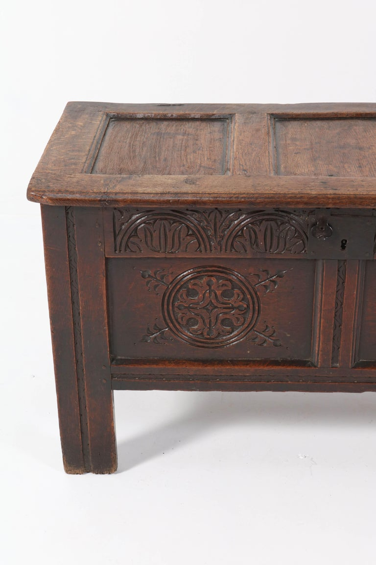 18th Century English Carved Oak Blanket Chest or Coffer For Sale 6