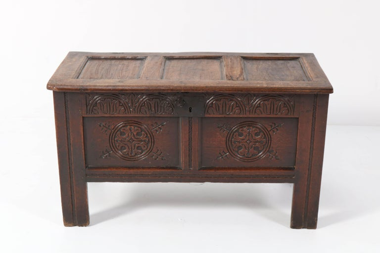 British 18th Century English Carved Oak Blanket Chest or Coffer For Sale