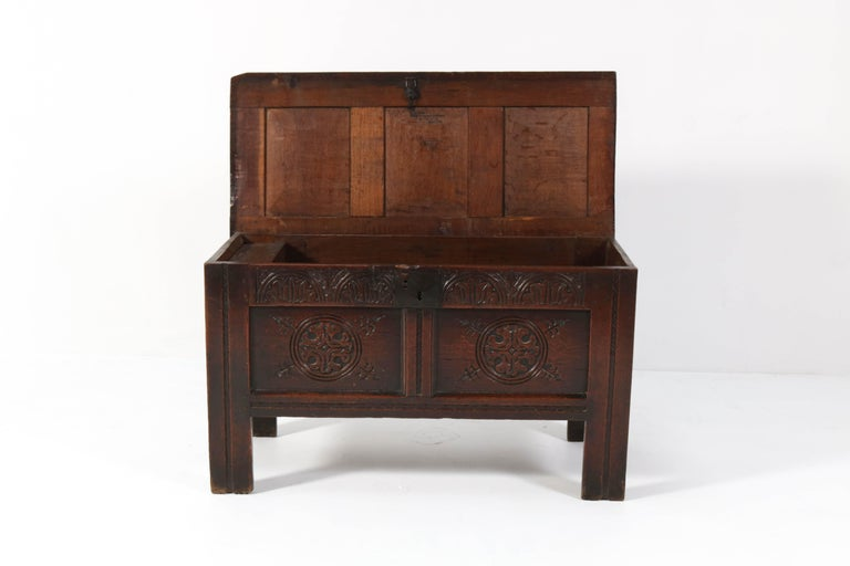 18th Century English Carved Oak Blanket Chest or Coffer For Sale 1