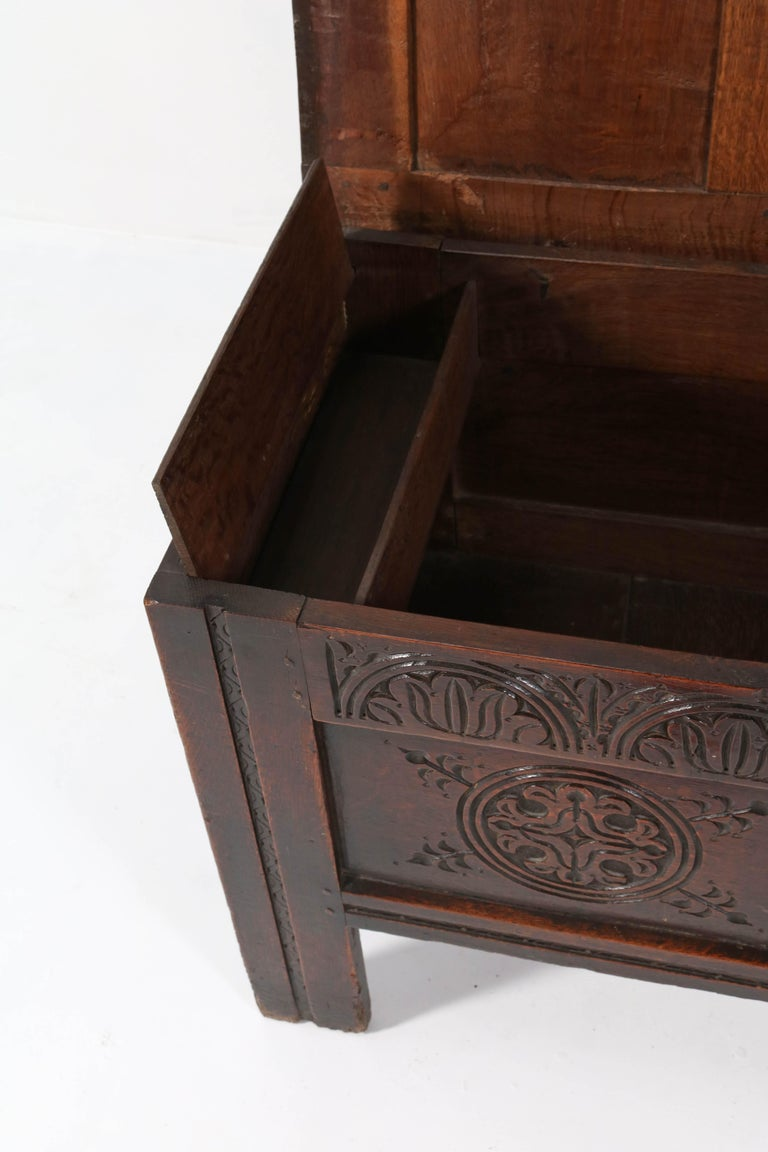 18th Century English Carved Oak Blanket Chest or Coffer For Sale 2