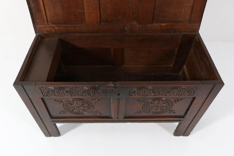 18th Century English Carved Oak Blanket Chest or Coffer For Sale 3