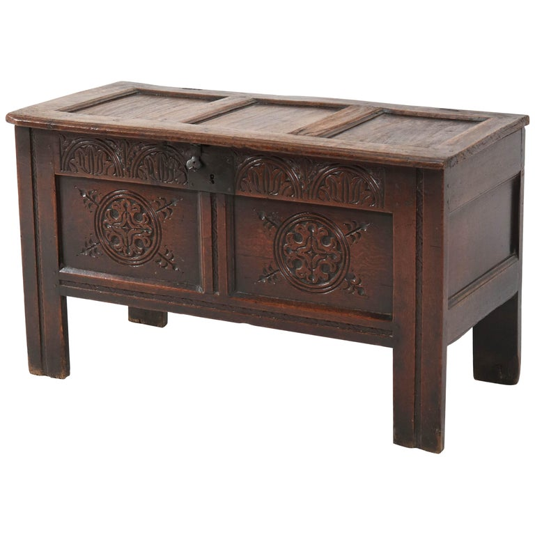 18th Century English Carved Oak Blanket Chest or Coffer For Sale