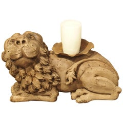 18th Century English Carved Oak Lion Candleholder