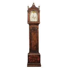 18th Century English Chinoiserie Decorated Longcase Clock with Painted Face