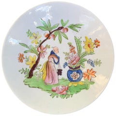 18th Century English Chinoiserie Porcelain Bowl with Old Label