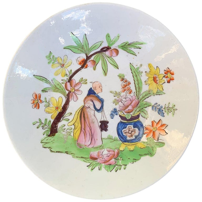 18th Century English Chinoiserie Porcelain Bowl with Old Label For Sale