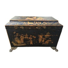 18th Century English Chinoiserie Tea Caddy Box