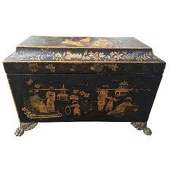 18th Century English Chinoiserie Tea Caddy