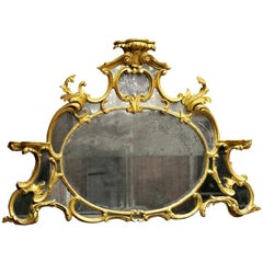 18th Century English Chippendale Giltwood Overmantle Mirror