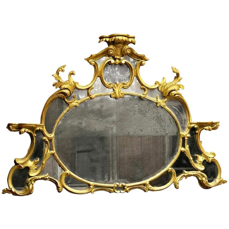 18th Century English Chippendale Giltwood Overmantle Mirror For Sale
