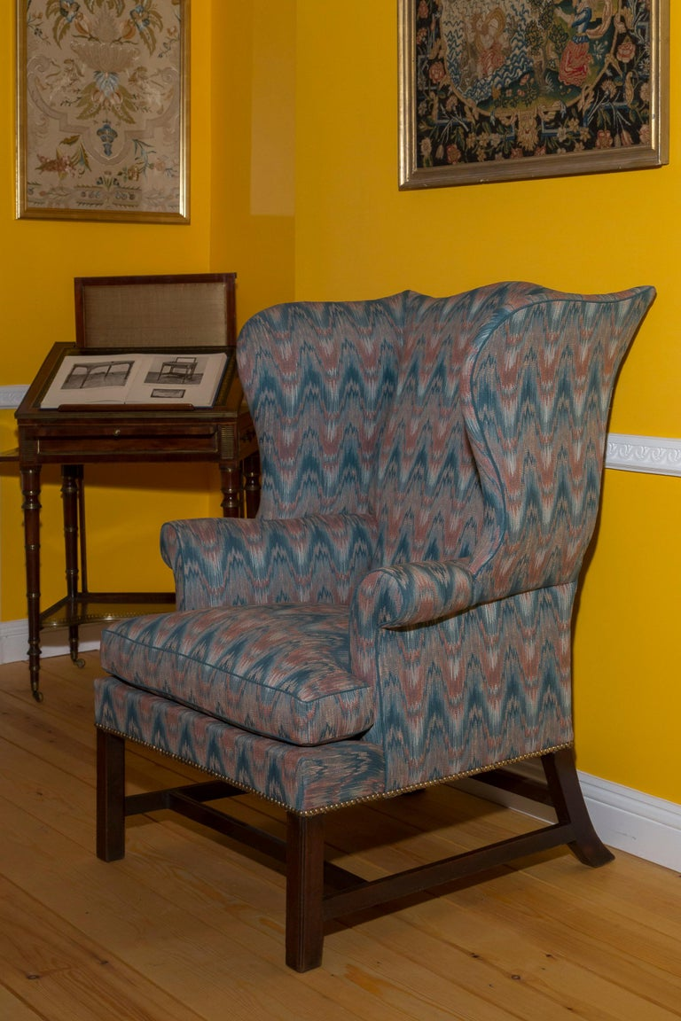 Carved 18th Century English Chippendale Wing Chair For Sale