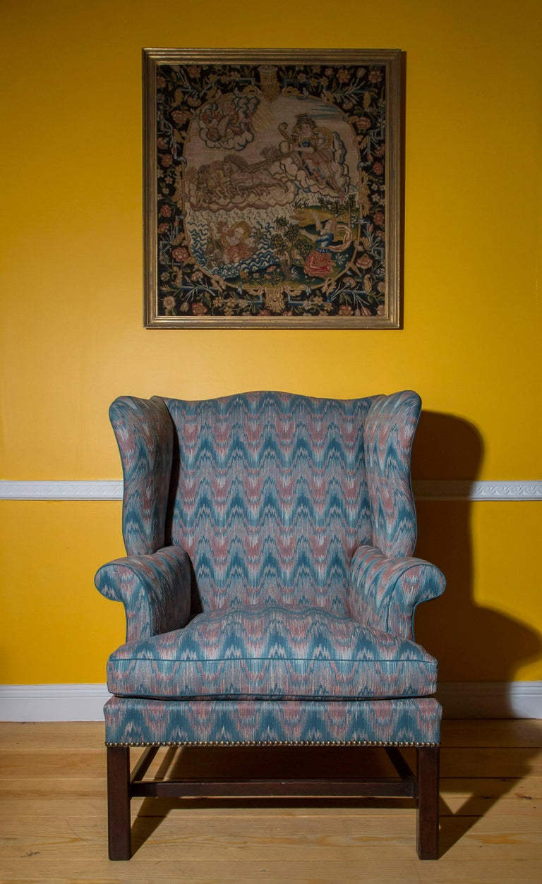Mid-18th Century 18th Century English Chippendale Wing Chair For Sale