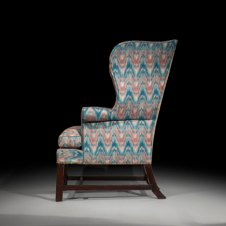 George III 18th Century English Chippendale Wing Chair For Sale