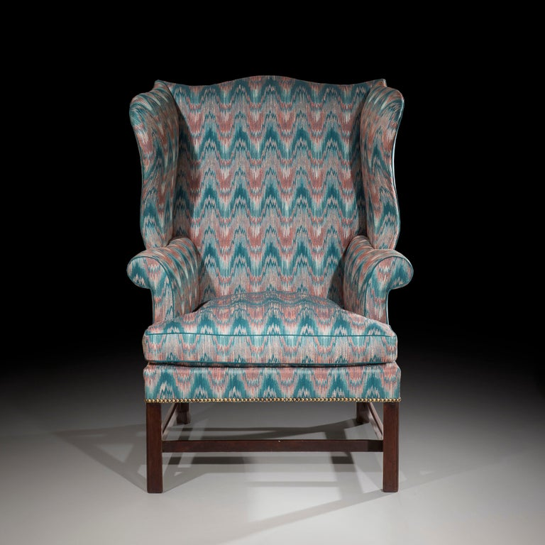 Mahogany 18th Century English Chippendale Wing Chair For Sale