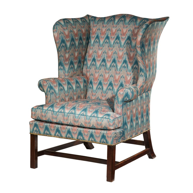18th Century English Chippendale Wing Chair For Sale
