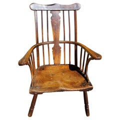 "18th Century English ""Comb-Back"" Ash, Elm and Walnut Windsor Armchair"