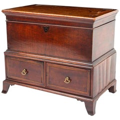 18th Century English Diminutive Mahogany Chest with Satin Wood Banding