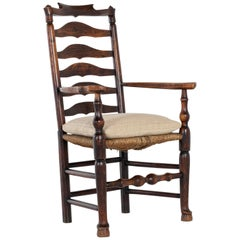 18th Century English Elm Ladder-Back Carver Chair