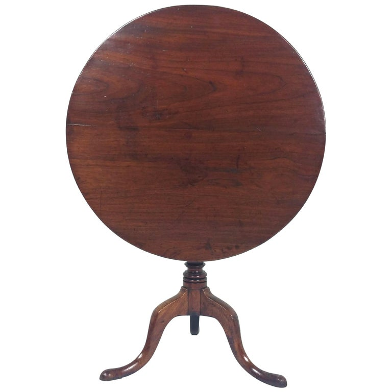 18th Century English Fruit Wood Tilt Top Table For Sale