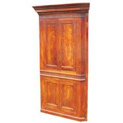 18th Century English Fruitwood Barrel Back Double Corner Cupboard