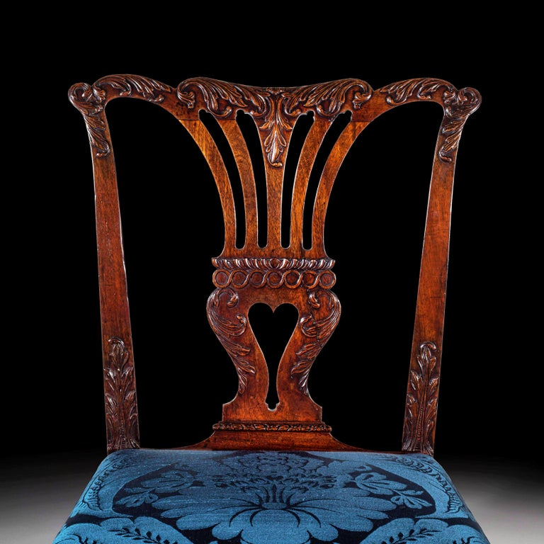 Very fine George II Chippendale period mahogany side chair, attributed to William Vile, John Cobb and William Hallett ('The St. Martin's Lane Syndicate').   English, circa 1755.  With a shaped foliate carved crest rail over a pierced splat back,