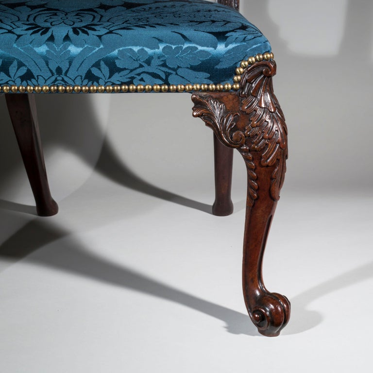 Mid-18th Century 18th Century English George II Chippendale Period Rococo Chair For Sale