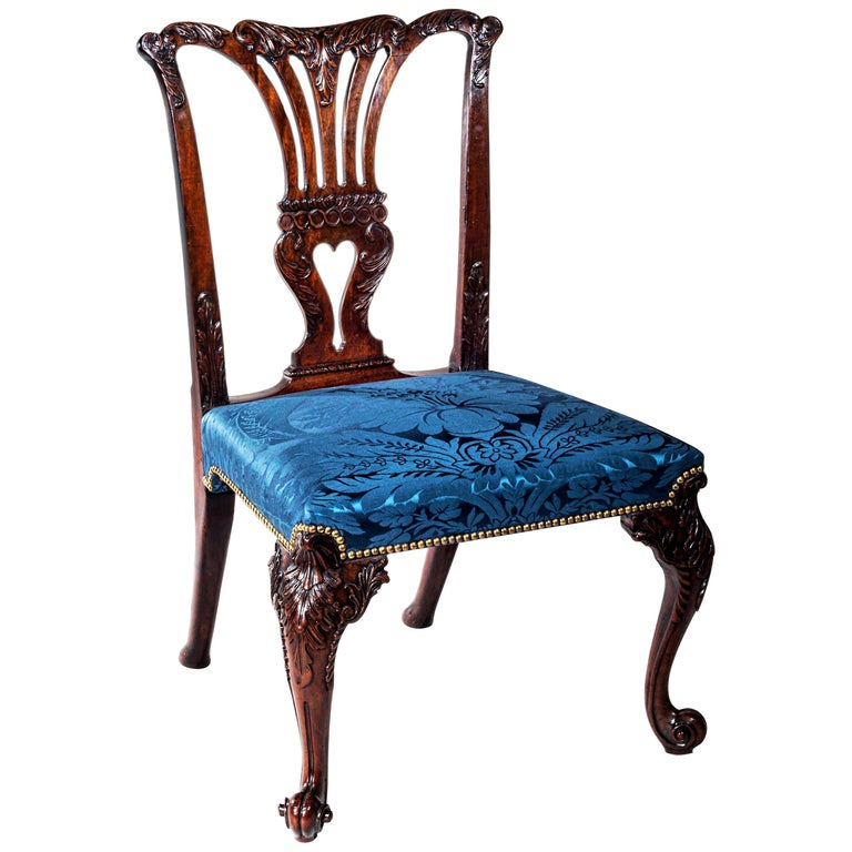 18th Century English George II Chippendale Period Rococo Chair For Sale