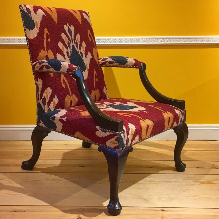 Textile 18th Century English George II Walnut Armchair For Sale