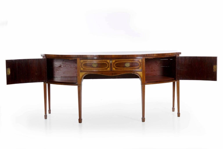 18th Century English George III Inlaid Mahogany Bowfront Antique Sideboard For Sale 7