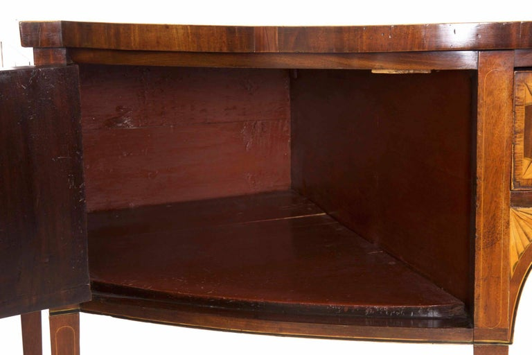 18th Century English George III Inlaid Mahogany Bowfront Antique Sideboard For Sale 9