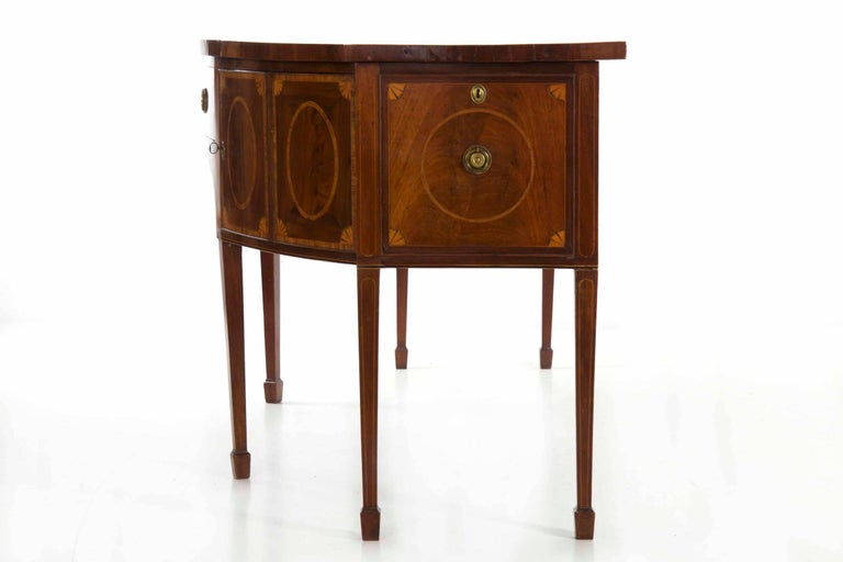 18th Century English George III Inlaid Mahogany Bowfront Antique Sideboard For Sale 10