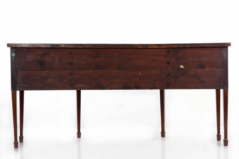 18th Century English George III Inlaid Mahogany Bowfront Antique Sideboard For Sale 12