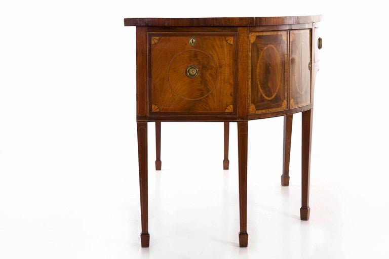 18th Century English George III Inlaid Mahogany Bowfront Antique Sideboard For Sale 14