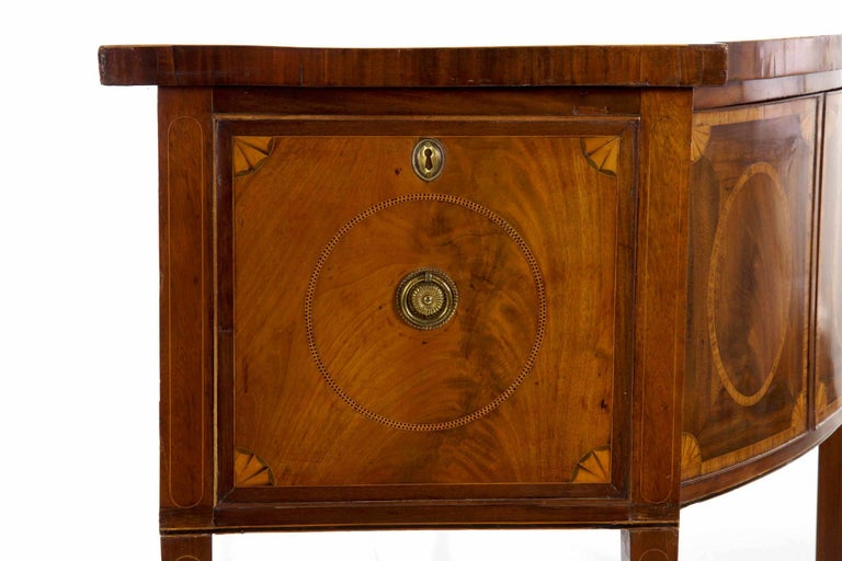 18th Century English George III Inlaid Mahogany Bowfront Antique Sideboard For Sale 15