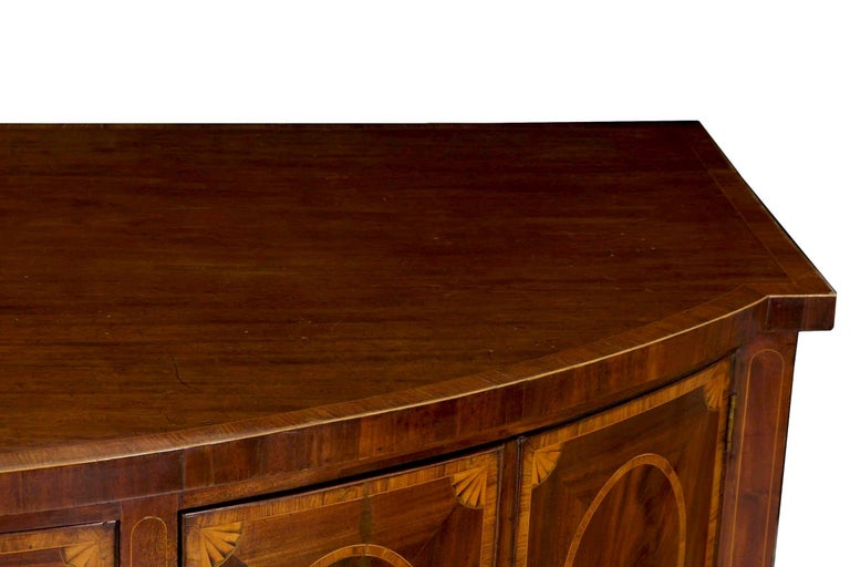 Inlay 18th Century English George III Inlaid Mahogany Bowfront Antique Sideboard For Sale