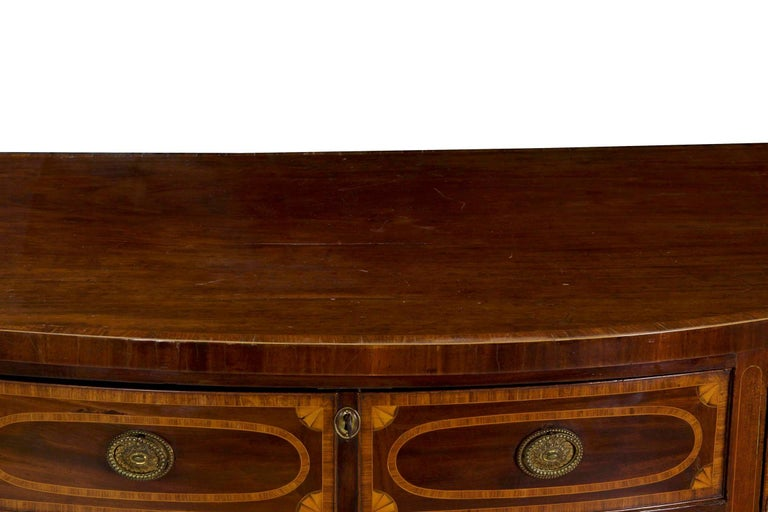 18th Century English George III Inlaid Mahogany Bowfront Antique Sideboard In Good Condition For Sale In Shippensburg, PA