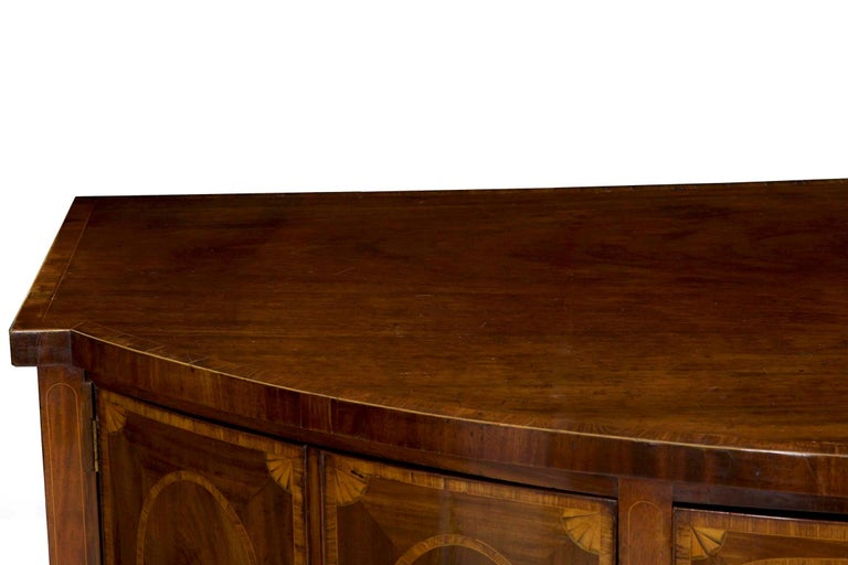 18th Century English George III Inlaid Mahogany Bowfront Antique Sideboard For Sale 1