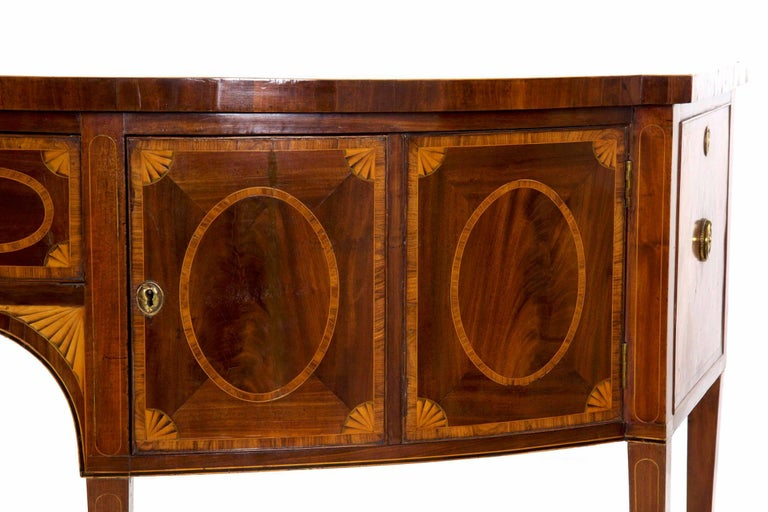 18th Century English George III Inlaid Mahogany Bowfront Antique Sideboard For Sale 3
